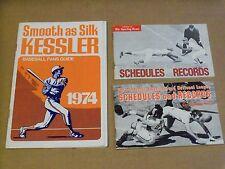 Three (3), Baseball Schedules & Records Pamphlets, 1968, 1972 & 1974, Kessler ++