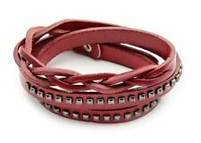 Leather Braided/ Studded Wrap Cuff Bangle Bracelet Wristband -Unisex Jewelry
