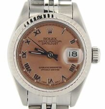 Rolex Datejust Lady Stainless Steel 18K White Gold Watch Salmon Roman Dial 69174