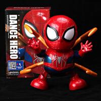 Dance Hero Spiderman w/Iron Paw Avengers Toy Figure Dancing Robot w/LED & Music