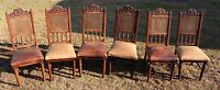 Set of Six 19th Century French Henri II Cane & Leather Side Chairs
