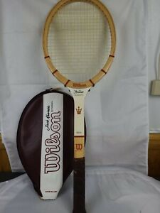 Wilson Jack Kramer Autograph  4-3/8 light Vintage Wood Tennis Racquet and Cover