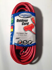 Coleman Cable 04217 Outdoor Extension Cord 25FT Red 14/3 Gauge Tri-Source Plug