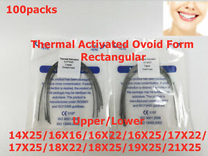 100packs Dental Ovoid Form Ortho Thermal Activated Niti Arch Wire Rectangular