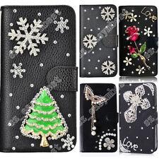 Christmas Snowflower Phone Case Bling Diamonds Crystal Leather Flip Wallet Cover