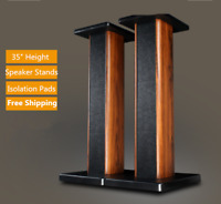 """35"""" Rosewood Speaker Floor Stands For TV Home Theatre 3D Surround Sound Support"""