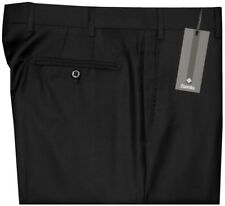 $395 NWT ZANELLA DEVON SOLID BLACK SUPER 120'S WOOL MENS DRESS PANTS 33