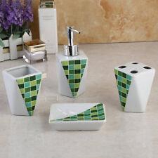 B33 Ceramic 4 green Bathroom Accessories Set Toothbrush Cup Soap Dispensor