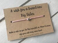 """A Wish For a Brand New Big Sister"" Message Card Tie Silver Star Bracelet Gift"