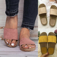 Women Flat Sliders Slippers Slip on Ladies Sandals Beach Espadrille Shoes Mules