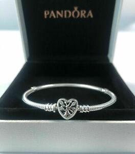 NEW Genuine Silver Pandora Moments Family Tree Heart Clasp Snake Chain Bracelet