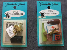 Grandmother Stovers Miniature Doll Accessories, First Aid, Mailbox, Letters, NOS