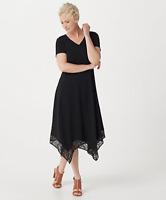 H by Halston Regular V-Neck Short-Sleeve Midi Dress with Lace Trim - Black - 1X