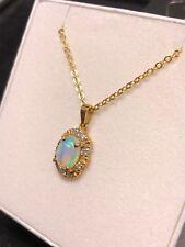 Australian Natural Crystal Opal Pendant - 18k Yellow Gold w/ 10 Diamonds