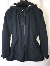 Tumi Tahoe Women's Jacket Rain Coat Hood Fishtail Parka Slate Gray & Black RFID