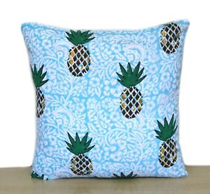 Beautiful Indien Room Decorative Cushion Blue Pineapple Print Pillow Case Covers