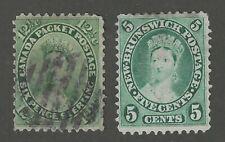 CANADA #18 (1859) + NEW BRUNSWICK #8 (1860) - QUEEN VICTORIA - USED - CV $118