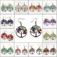 Natural Amethyst Labradorite Lapis Chip Beads Tree of Life Pendant Hook Earrings