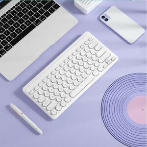 Portable Retro Round Punk Keycap Keyboards Mini Wireless Silent Gaming Keyboards