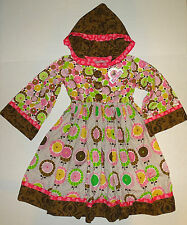 Girl's Hoodie Dress Jelly the Pug Sz 10 Pink Brown Flowers Polka Dots w/Legging
