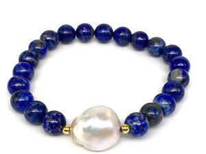 Meher's Jewelry Baroque Pearl & Lapis Lazuli Gemstone Beaded Stretch Bracelet