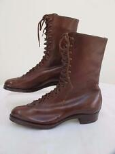 ANTIQUE VICTORIAN ANKLE BOOTS - LACE UP - BROWN LEATHER LADIES SHOES - c1890