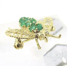 .90 ct tw Emeralds Round Cut 10k Yellow Gold Diamonds Fly Bee Brooch