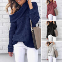 Women Loose Pullover Tops Long Sleeve Jumper Off Shoulder Knitted Winter Sweater