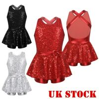 UK Girls Jazz Dance Dress Kid Modern Ballet Sequins Leotard Mini Skirt Dancewear