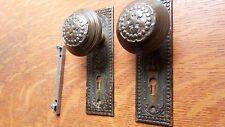 """Antique Fancy Victorian Doorknobs Door Knobs & Plates c1900 """"Century"""" R & E"""