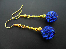 A PAIR OF PRETTY BLUE/GOLD SHAMBALLA STYLE  DANGLY EARRINGS. NEW.