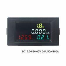 DC Voltmeter Ammeter Digital Volt Amp Watt KWH Monitor DC Voltage Current Meter