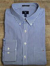 Gant ~ 3XL ~ blue & white stripe cotton, 'Broadcloth Banker' regular fit shirt