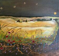 Harvest Glow contemporary mixed media painting, brown, gold, red 11 x 14 canvas