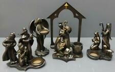 Partylite Bronze Nativity Set of 5 Candle Holders Jesus Mary Joseph Wise Men