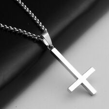 "Titanium Steel Inverted Cross Pendant Necklace 23.7"" Silver Chain Jewelry Gift"