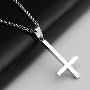 Titanium Steel Inverted Cross Religion Pendant *2