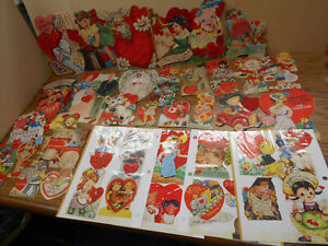 LOT of 50 Vintage 1940s-50s Assorted VALENTINES  All Sizes~ Scrapbook Pages~Old