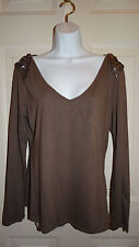 Mark. Clothing Line Taupe Long Sleeve Shirt with Sequins Size Large **Free Ship*