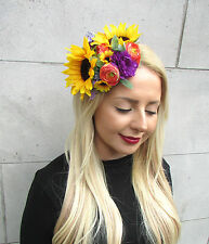 Statement Sunflower Yellow Purple Flower Fascinator Rockabilly 1950s Races 588