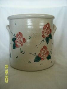 Salmon Falls Pottery crock in the rose pattern.  New! from 2004