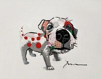 Dog with Red, 8x10 Hand painted on Giclee Canvas, Canvas-only