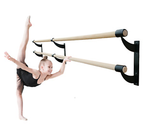 """Ballet Bar Double 2"""" Wood Fixed Height Wall Mounted Barre System 3' Ft to 40' Ft"""
