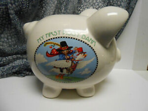 """Rare Mary Engelbreit My First Piggy Bank  Mother Goose almost 9"""" tall large"""