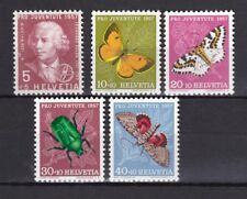 Schweiz 1957 postfrisch MiNr. 648-652  Pro Juventute  Insekten