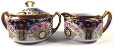 1910s Morimura Nippon Japan Hand Painted Porcelain Covered Sugar And Creamer Set