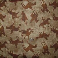 BonEful Fabric FQ Cotton Quilt Brown Green Tone Horse Cowboy Texas Western Rodeo