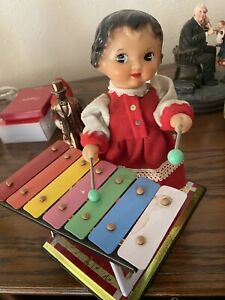 vintage musical xylophone  Kitsch doll little performer Plays Music