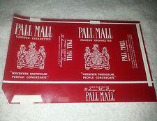 Nos vintage Pall Mall unfolded cigarette pack wrapper label Durham Nc (#1)