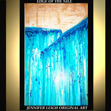 "ORIGINAL LARGE ABSTRACT CONTEMPORARY MODERN ART PAINTING Blue 36x24"" JLEIGH"